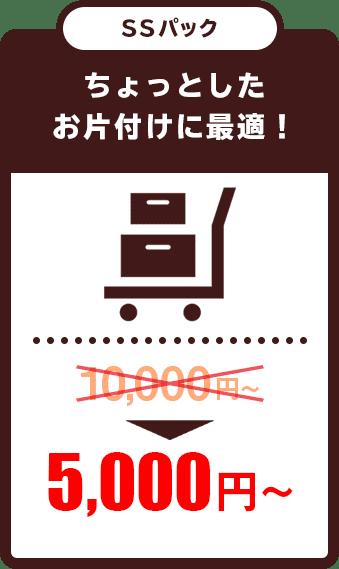 不用品・粗大ごみのちょっとしかお片づけにぴったりのSSパックは5000円