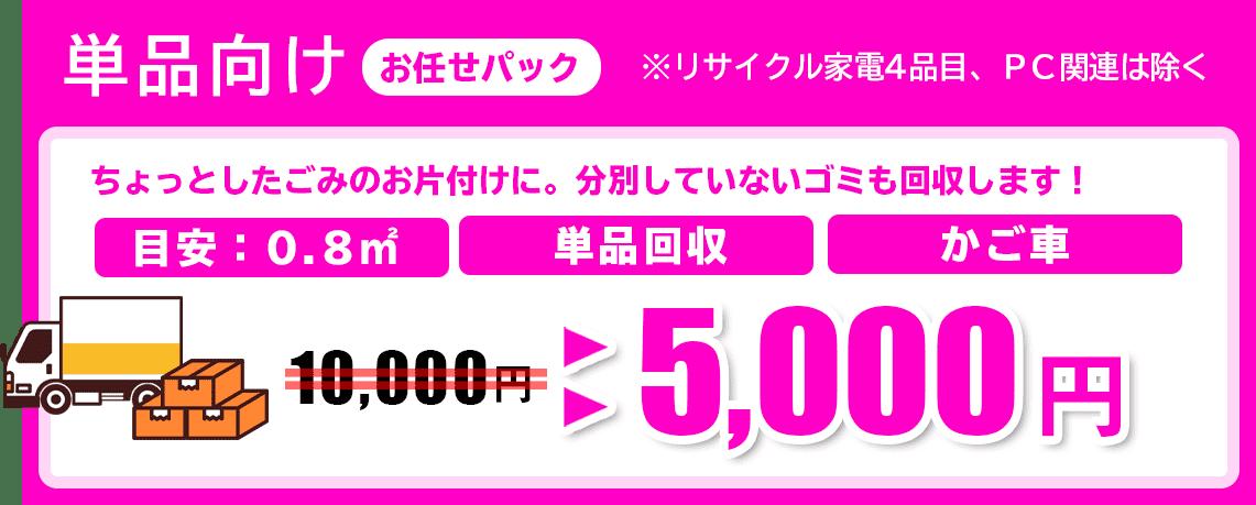 単品向け、ちょっとしたごみのお片づけなら5000円から回収いたします